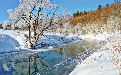 snow-winter-river-water-tree-sky